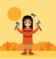 native american indian character holding tomahawk vector image vector image
