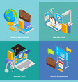 online education iconcept cons set vector image vector image