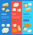 realistic detailed 3d cheese banner vecrtical set vector image
