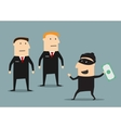 Security guards caught the thief with money vector image vector image