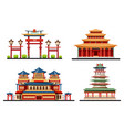 set chinese buildings or asian architecture vector image vector image