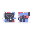 set icons with web design laptop diagram online vector image vector image