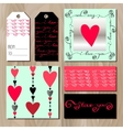 Set of cards with red valentines day design vector image