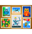 Set of colorful postage stamps vector image