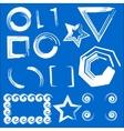 Set of geometric frames blue background vector image vector image