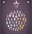 set of hand drawing colorful pastel arrow vector image vector image