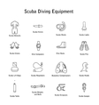set of icons scuba diving equipment vector image vector image