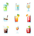set of nine tropical cocktails mojito tom vector image vector image