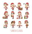 set santa claus costume characters vector image