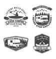 set summer camp canoe and kayak club badge vector image vector image