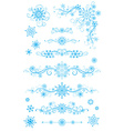 Snowflake page dividers and decorations isolated