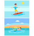 surfing and summer activities vector image vector image