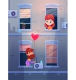 Two lovers talking oby opening window in an vector image vector image