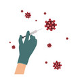 vaccine against coronavirus infection in hands vector image