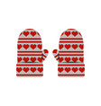 valentines day knitted mittens pattern of hearts vector image vector image