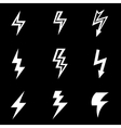 white lightning icon set vector image vector image
