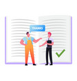 worker in overalls saying thanks to businessman in vector image vector image
