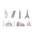 world travel and sights hand drawn sketches vector image