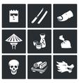 Yakuza Japans organized crime icons set vector image