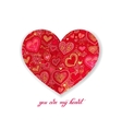 you are my heart calligraphy design with red paper vector image vector image