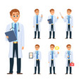 doctor in different poses mascot design in vector image