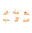 set of cute newborn babies in different action vector image