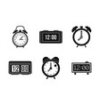 alarm clock icon set simple style vector image vector image