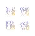alternative energy gradient linear icons set
