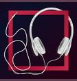 big earphones white vector image vector image