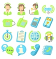 Call center items icons set cartoon style vector image vector image