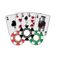 casino poker card money and stak chips vector image
