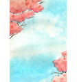 cherry blossom tree with blue sky watercolor vector image vector image