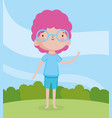 children day little boy with glasses pink hair vector image vector image