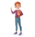 clever smiling boy index finger pointing up vector image