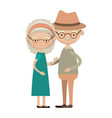 colorful full body elderly couple embraced vector image vector image