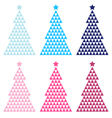 Colorful Mosaic Xmas tree set isolated on white vector image