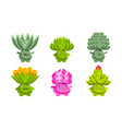 cute funny plants characters set fantasy vector image vector image