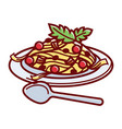 delicious italian carbonara on plate with spoon vector image vector image