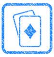 diamonds gambling cards framed grunge icon vector image