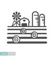 farm landscape with barn haystack and granary vector image