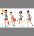 field hockey female player playing field vector image