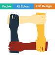 Flat design icon of Crossed hands vector image