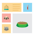 flat icon pets set of puppy bird prison vector image vector image
