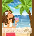 flat summer beach party poster vector image vector image