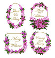 flowers frames icons for wedding save date vector image vector image