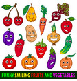 Funny smiling fruits and vegetables set flat