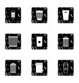 Garbage icons set grunge style vector image vector image