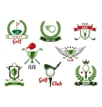 Golf club emblems and icons with game items vector image