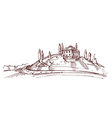 Hand drawn of an Italian house on hill vector image vector image