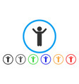 hands up child rounded icon vector image vector image